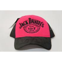 Boné Trucker Jack Daniels Bebida Rosa Tela Bordado Top