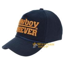 Boné Cowboy Forever Azul Marinho 100% Algodão Com Fivela Par