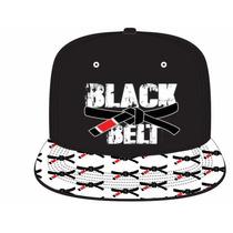 Boné Aba Reta Super Cap Bordado-black Belt Com Aba Estampada