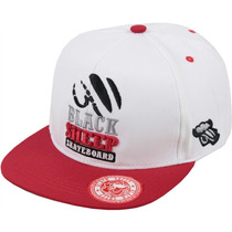 Boné Black Sheep Mini Logo Aba Reta Snapback Branca
