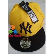 Boné Aba Reta New York Ny Yankees Amarelo Com Preto