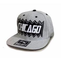 Boné Black Bulls Snapback Chicago Aba Reta Cinza Barato Top