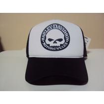 Boné Harley Davidson Motorcycles Skull Snapback Trucker