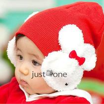 Touca De Lã Infantil Vermelha E Rosa - Importado