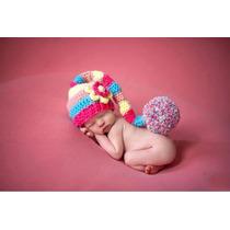 Touca Croche Modelo Elfo Candy Gorro Newborn Para Bebês Bonê