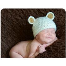 Touca / Gorro Ursinho Em Crochê Para Bebê (newborn Props)