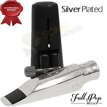 Boquilha Everton Sax Alto Full Pop Metal 7 Silver Prata
