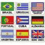 Patch Bordado Bandeira C/ Nome Pais Ou Estado Brasil 4,5x5cm