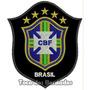 Patch Bordado Copa 2014 Seleção Brasil Cbf Preto 10cm Sel23