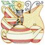 Cozinha Hora Do Chá - Coleção De Matriz De Bordado