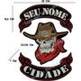 Patch Bordado Grande Cowboy Skull Seu Nome Sua Cidade Car504