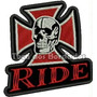 Patch Bordado Skull Ride Bike Caveira Cruz 8,5x8cm Car469