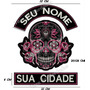 Patch Bordado Caveira Rosa Com Texto Livre Gr 40cm Car516