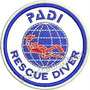 Patch Bordado Breve Mergulho Padi Rescue Diver 8x8cm Prf160