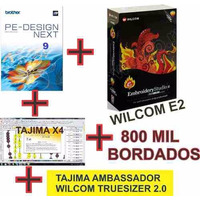 Wilcom E2+tajima X4+ Pe Design 9.0 + 800 Mil Bordado+brindes