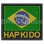Atm057 Bandeira Brasil Hapkido 9cm Tag Patch Bordado Kimono