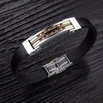 Pulseira Bracelete Masculina Aço Couro E Banhada Ouro 18k