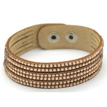 Pulseira Bracelete Feminino Couro Com Brilhantes