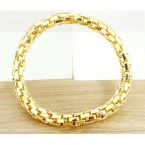 Bracelete Pulseira Feminino Folheada Á Ouro