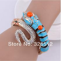 Bracelete De Cobra Esmaltada Azul Com Cristais Clear