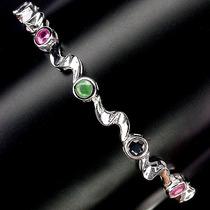Jóias Ativ55- Rubi,esmeralda,safira Africanos-pulseira P925