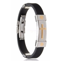 Bracelete - Pulseira Silicone - Cruz Liga De Metal Dourado