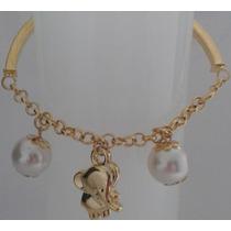 Pulseira Feminina Bracelete Ajustavel Dourada Pingentes