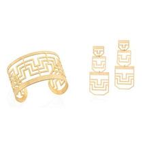 Conjunto Bracelete E Brinco Rommanel Folheado Ouro 18k