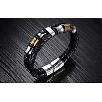 Pulseira Bracelete Masculina Aço Inoxidável Banhada Ouro 18k