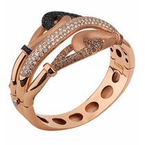 Bracelete Entrelaçado Ouro 18k Rosa Diamantes, Black E Brown