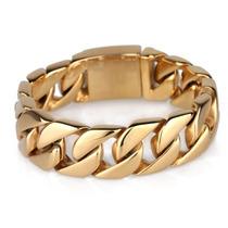 Bracelete Pulseira Aço Corrente Grossa Masculina 46721 Ouro