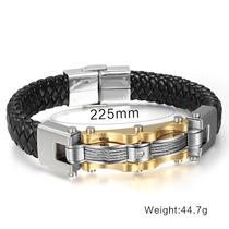 Pulseira Bracelete Masculino Aço Inox E Couro Banho Ouro18k