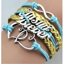 Pulseira Bracelete Múltiplo - Justin Bieber - Azul E Dourado
