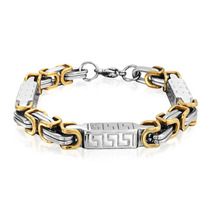 9in Two Tone Aço Chave Grego Pulseira Masculina 8mm - Bling