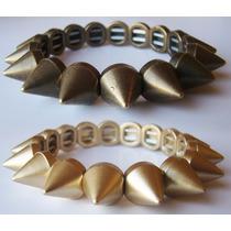 Bracelete Pulseira Spike Regulavel Dourada Fosco Bronze