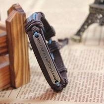 Pulseira Bracelete Artesanal Masculino De Couro E Aço