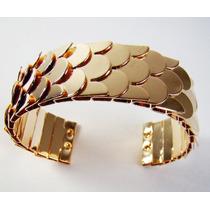 Pulseira/bracelete Escamas De Sereia Ajustável - Dourado