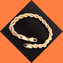 Bracelet Pulseira Unisex Laminada Chapeada Ouro 14k 21cm 7mm