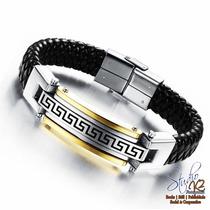 Bracelete Pulseira Aço Titanio Couro Grego Masculino
