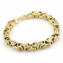 Pulseira Masculina Dourada Aço Inoxidável - Não Perde A Cor