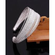 Pulseira Tipo Bracelete. Aros Cinzelados Em Prata De Lei 925