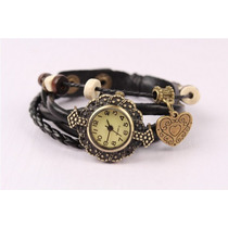 Relógio Feminino Vintage Retro Pingente Coração Couro