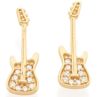 Brinco Guitarrinha Zircônias Rommanel Folheado Ouro 525263