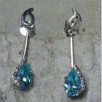 Lindos Brincos Em Ouro Branco 18k Topázio Azul E Diamantes
