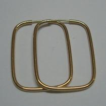 Lindos Brincos Argola Retangular Ouro 18k750 Br37