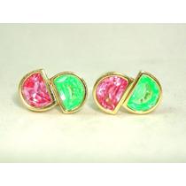 Pocao2005-brincos Ouro18k Turmalinas Rosa-verde Frete Grátis