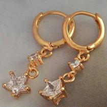 Brincos Diamantes Folheado Ouro 9k Estrela B014