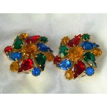 Lindo,refinado Par Brincos Cristais Coloridos,itália,déc.80