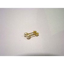 Maravilhoso Brinco De Pérolas 3mm Ouro 18k 004009