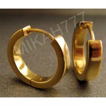 Brinco Masculino Argola Articulada Dourada 4mm Par Aço Inox